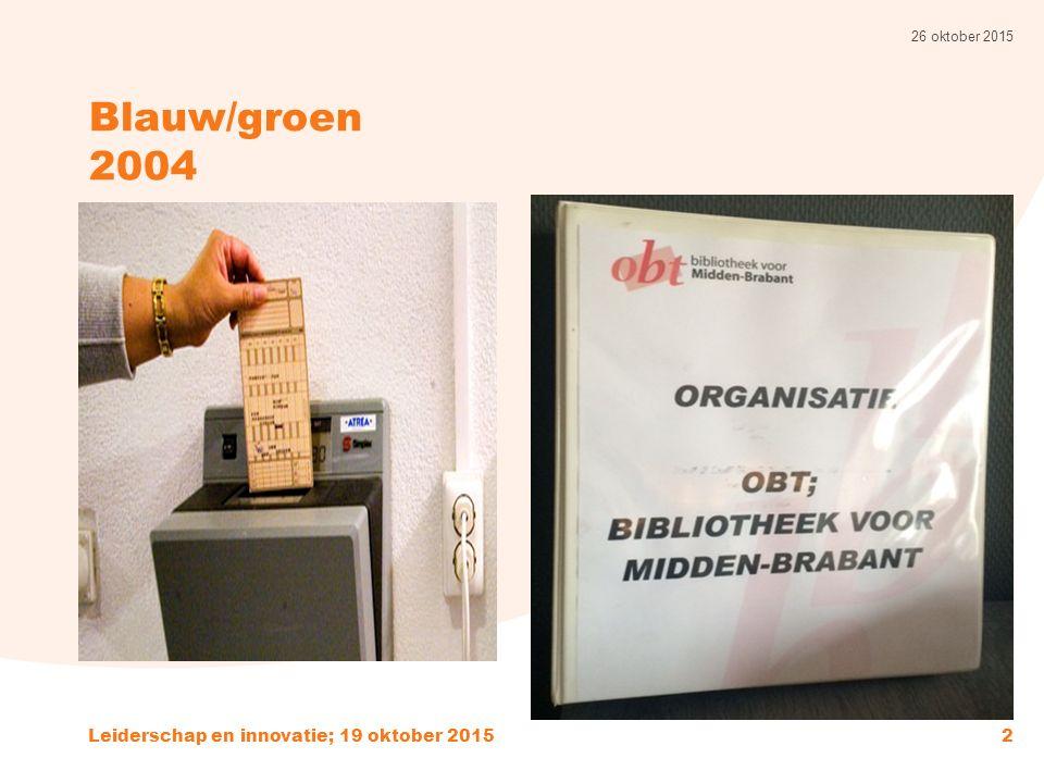 Blauw/groen 2004 26 oktober 2015 Leiderschap en innovatie; 19 oktober 20152
