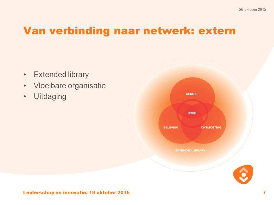 Van verbinding naar netwerk: extern Extended library Vloeibare organisatie Uitdaging 26 oktober 2015 Leiderschap en innovatie; 19 oktober 20157