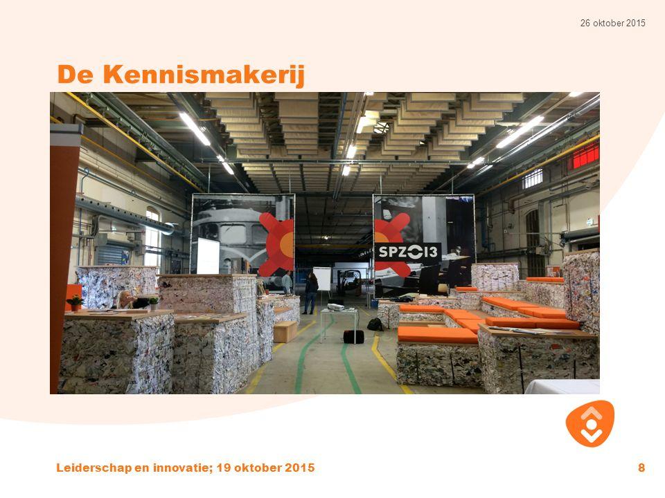 De Kennismakerij 26 oktober 2015 Leiderschap en innovatie; 19 oktober 20158