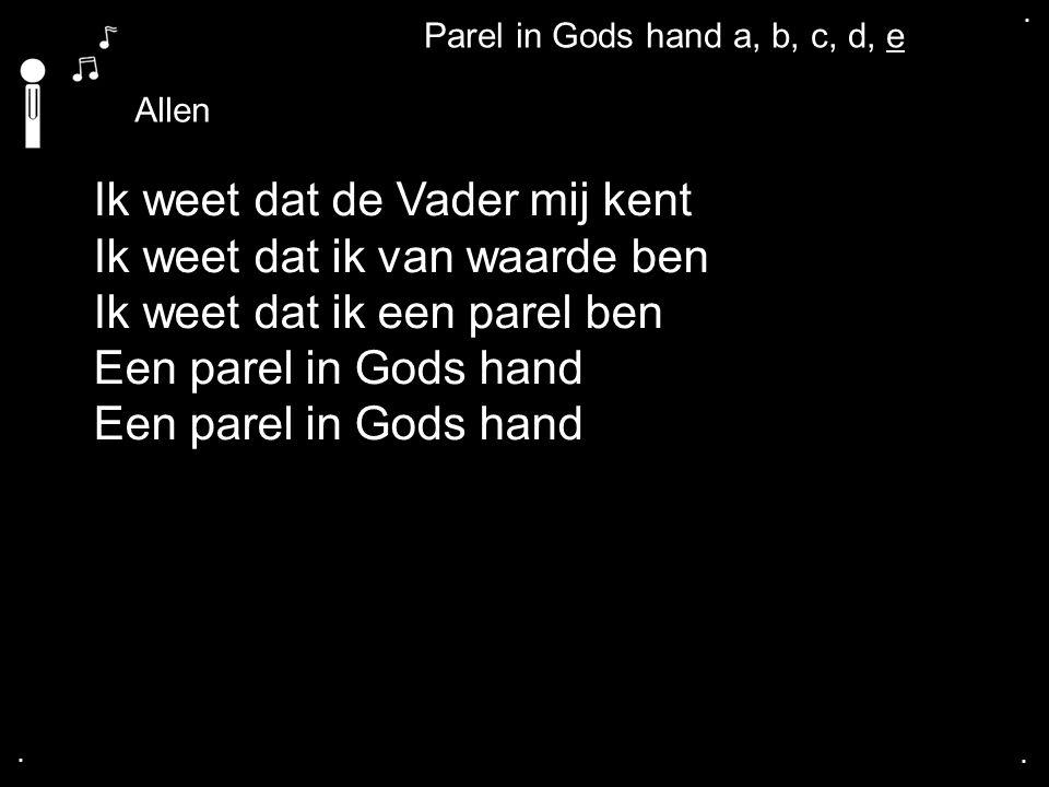.... Allen Ik weet dat de Vader mij kent Ik weet dat ik van waarde ben Ik weet dat ik een parel ben Een parel in Gods hand Parel in Gods hand a, b, c,