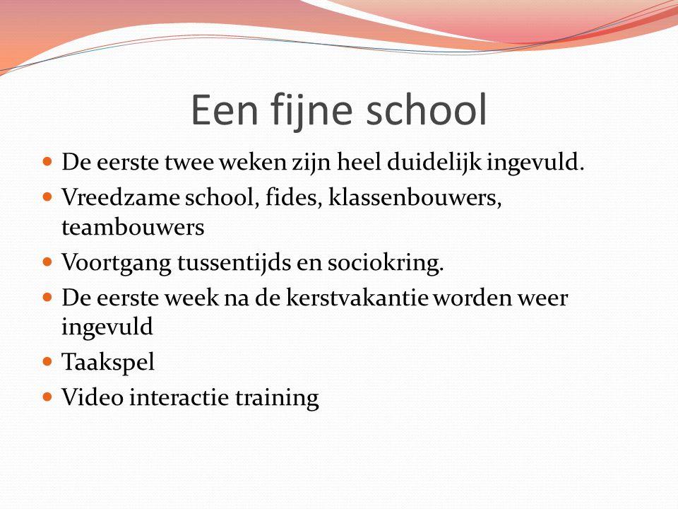 Een fijne school De eerste twee weken zijn heel duidelijk ingevuld. Vreedzame school, fides, klassenbouwers, teambouwers Voortgang tussentijds en soci
