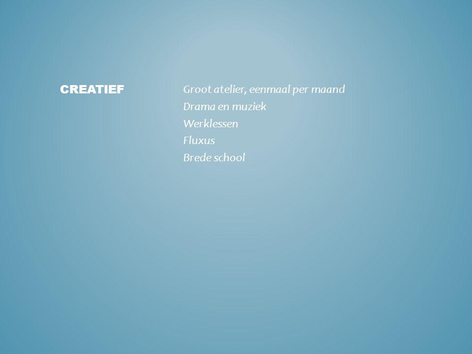 Groot atelier, eenmaal per maand Drama en muziek Werklessen Fluxus Brede school CREATIEF