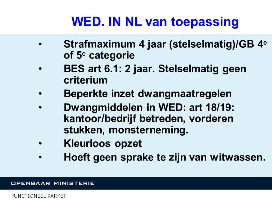 FUNCTIONEEL PARKET WED. IN NL van toepassing Strafmaximum 4 jaar (stelselmatig)/GB 4 e of 5 e categorie BES art 6.1: 2 jaar. Stelselmatig geen criteri