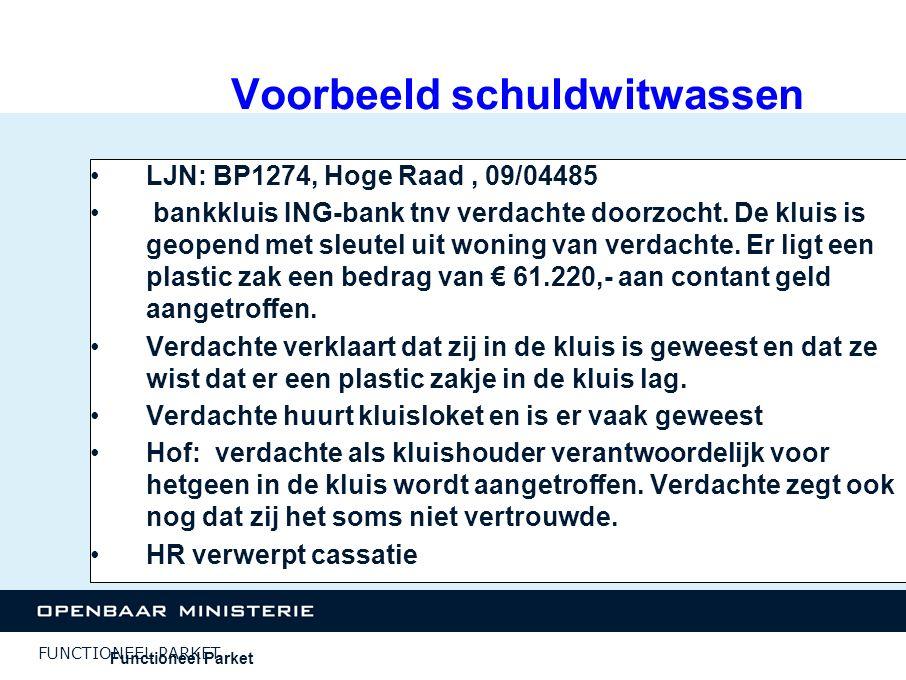 FUNCTIONEEL PARKET Voorbeeld schuldwitwassen LJN: BP1274, Hoge Raad, 09/04485 bankkluis ING-bank tnv verdachte doorzocht. De kluis is geopend met sleu