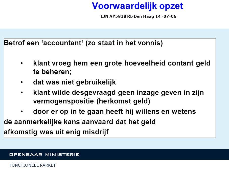 FUNCTIONEEL PARKET Voorwaardelijk opzet LJN AY5818 Rb Den Haag 14 -07-06 Betrof een 'accountant' (zo staat in het vonnis) klant vroeg hem een grote ho