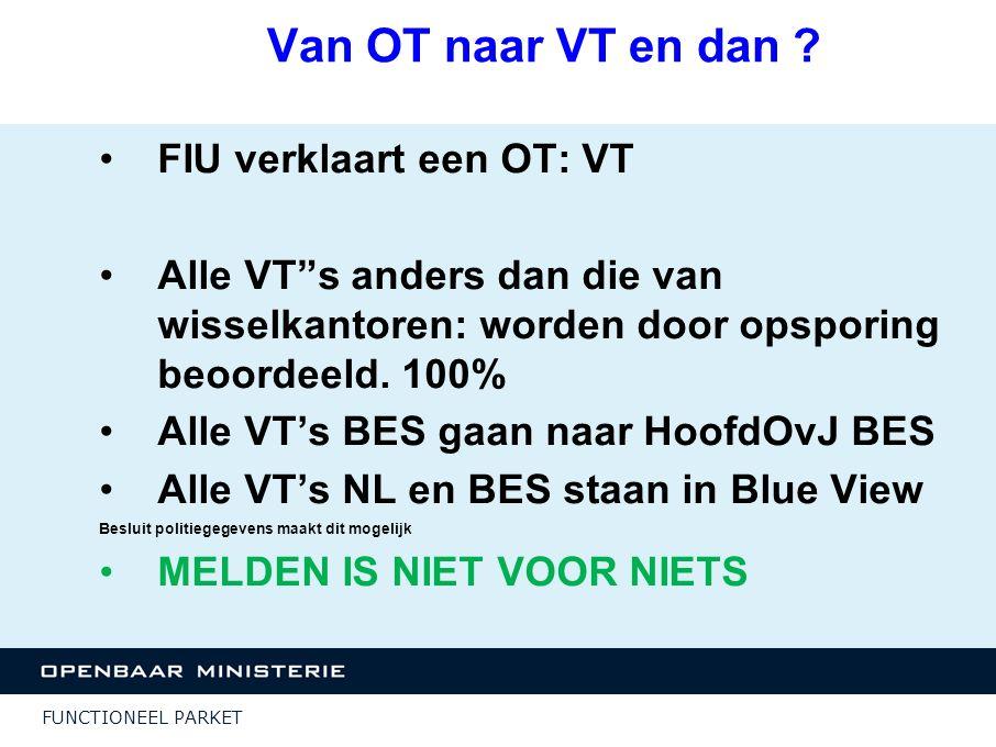 FUNCTIONEEL PARKET Resultaten niet meldersaktie 8 akties in NL en 1 op BES Zaken komen uit de meldketen of SR- onderzoeken Themazittingen Beter overleg tussen toezichthouders, FIU en OM ten aanzien van dit soort zaken Standaard PV FIU: meer/betere meldingen jurisprudentie