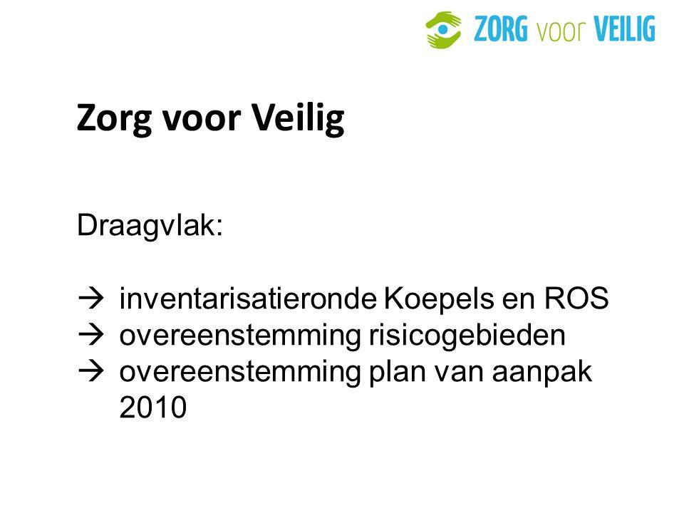 32 Zorg voor Veilig Draagvlak:  inventarisatieronde Koepels en ROS  overeenstemming risicogebieden  overeenstemming plan van aanpak 2010