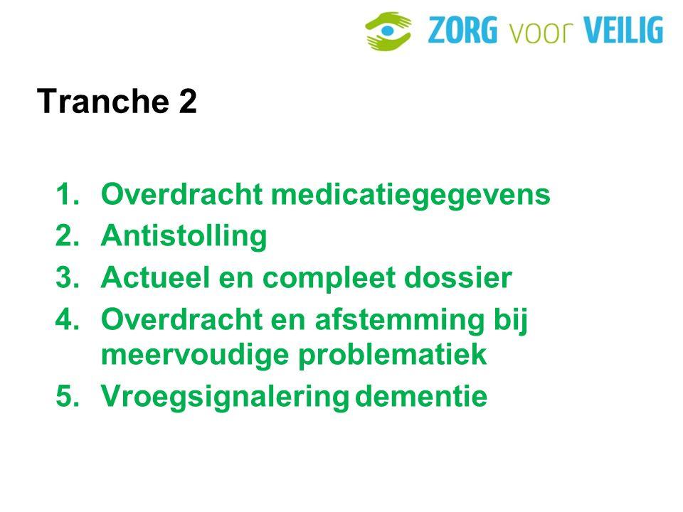 Tranche 2 1.Overdracht medicatiegegevens 2.Antistolling 3.Actueel en compleet dossier 4.Overdracht en afstemming bij meervoudige problematiek 5.Vroegsignalering dementie