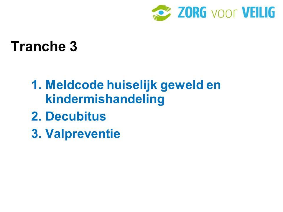 Tranche 3 1. Meldcode huiselijk geweld en kindermishandeling 2. Decubitus 3. Valpreventie