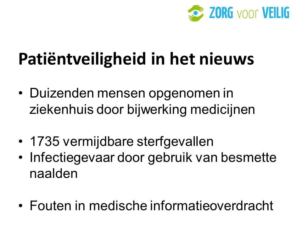 7 Patiëntveiligheid in het nieuws Duizenden mensen opgenomen in ziekenhuis door bijwerking medicijnen 1735 vermijdbare sterfgevallen Infectiegevaar door gebruik van besmette naalden Fouten in medische informatieoverdracht