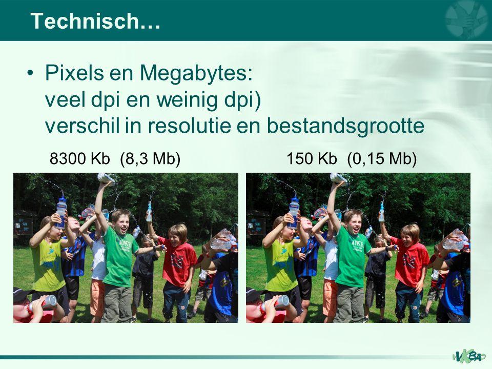 Pixels en Megabytes: veel dpi en weinig dpi) verschil in resolutie en bestandsgrootte Technisch… 8300 Kb (8,3 Mb)150 Kb (0,15 Mb)