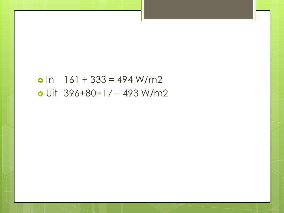  In 161 + 333 = 494 W/m2  Uit 396+80+17 = 493 W/m2