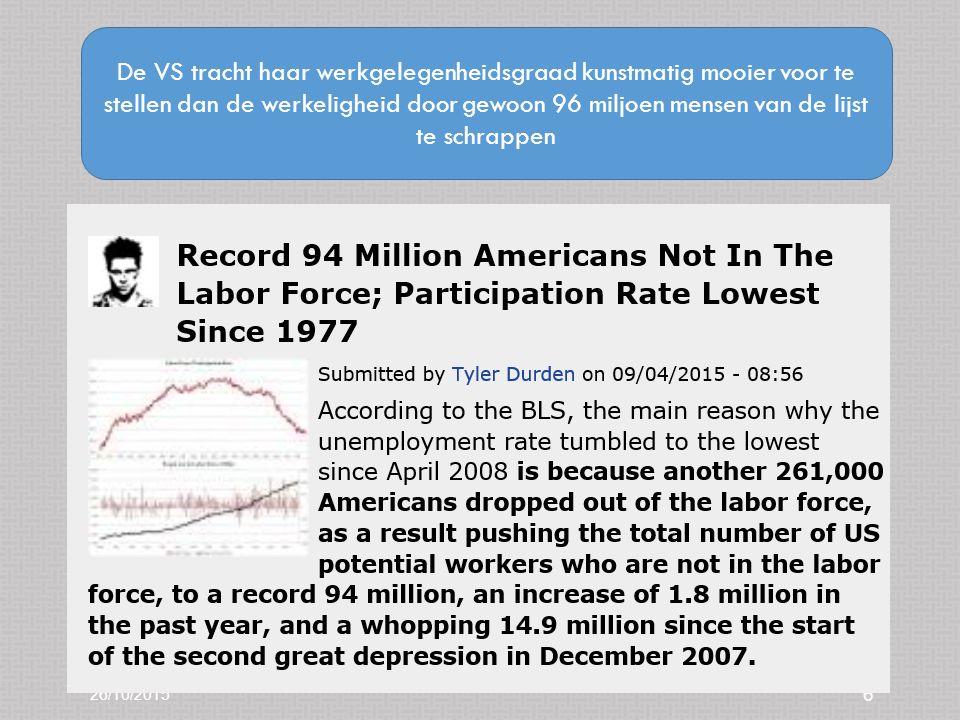 26/10/2015 6 De VS tracht haar werkgelegenheidsgraad kunstmatig mooier voor te stellen dan de werkeligheid door gewoon 96 miljoen mensen van de lijst te schrappen