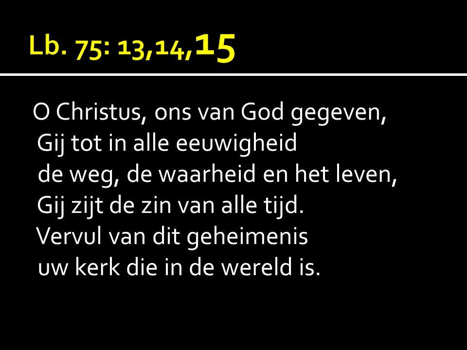 O Christus, ons van God gegeven, Gij tot in alle eeuwigheid de weg, de waarheid en het leven, Gij zijt de zin van alle tijd. Vervul van dit geheimenis