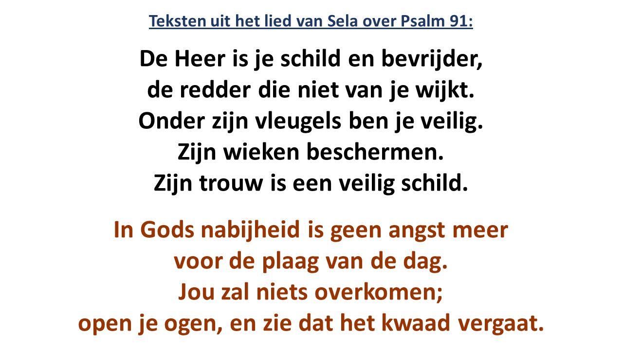 Teksten uit het lied van Sela over Psalm 91: De Heer is je schild en bevrijder, de redder die niet van je wijkt. Onder zijn vleugels ben je veilig. Zi