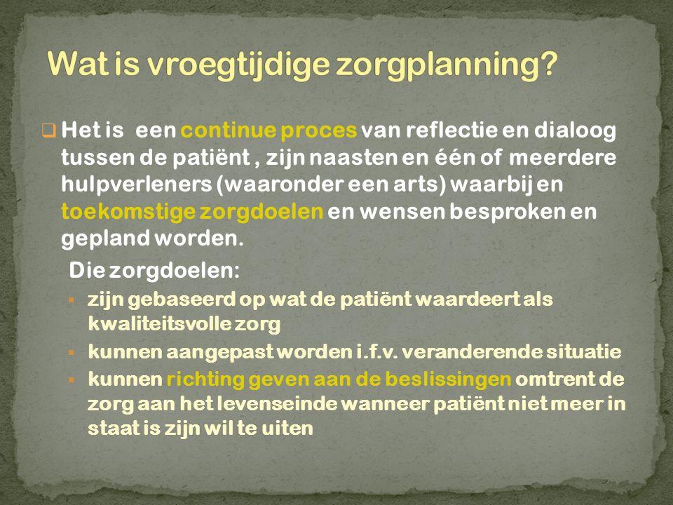  Het is een continue proces van reflectie en dialoog tussen de patiënt, zijn naasten en één of meerdere hulpverleners (waaronder een arts) waarbij en