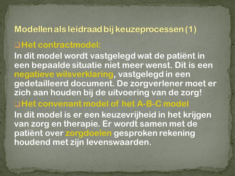  Het contractmodel: In dit model wordt vastgelegd wat de patiënt in een bepaalde situatie niet meer wenst. Dit is een negatieve wilsverklaring, vastg