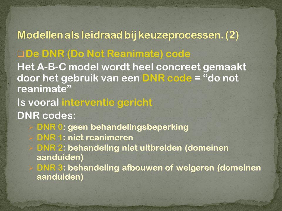 """ De DNR (Do Not Reanimate) code Het A-B-C model wordt heel concreet gemaakt door het gebruik van een DNR code = """"do not reanimate"""" Is vooral interven"""