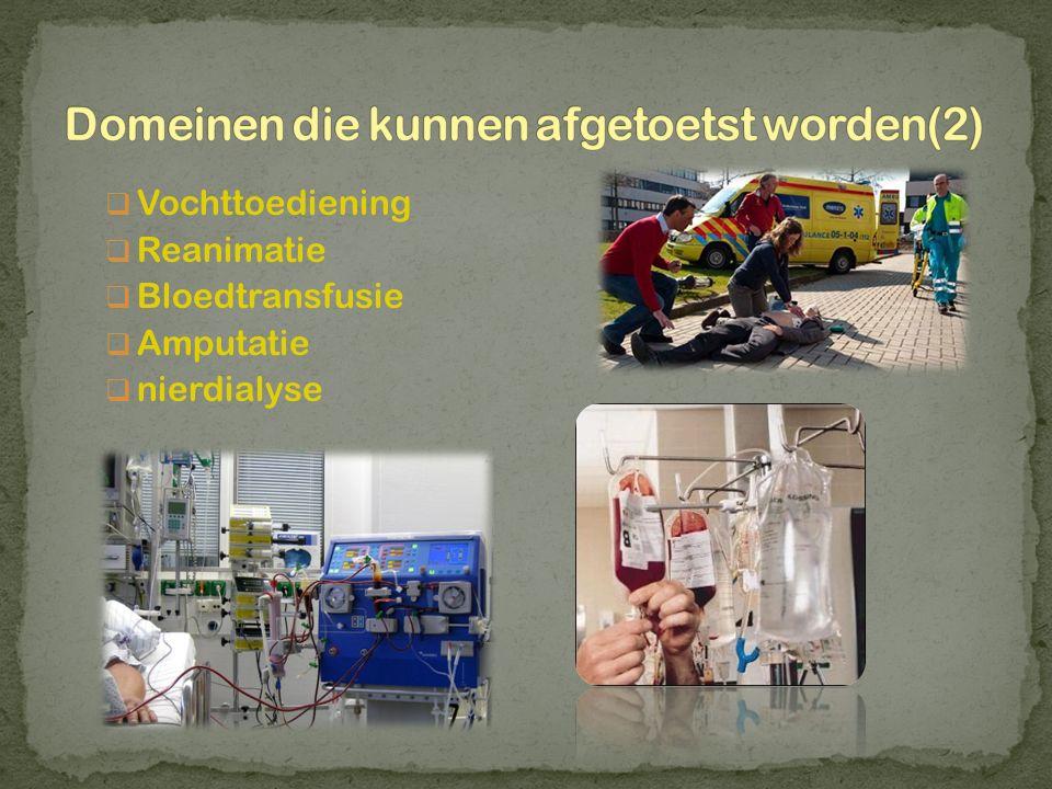  Vochttoediening  Reanimatie  Bloedtransfusie  Amputatie  nierdialyse