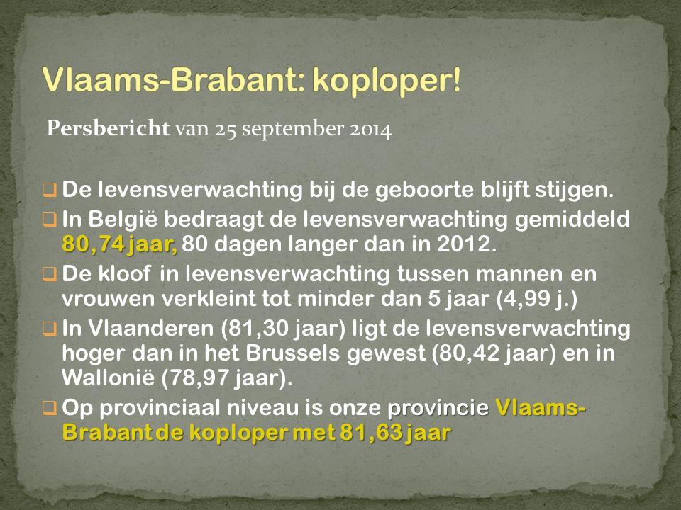 Persbericht van 25 september 2014  De levensverwachting bij de geboorte blijft stijgen. 80,74 jaar,  In België bedraagt de levensverwachting gemidde