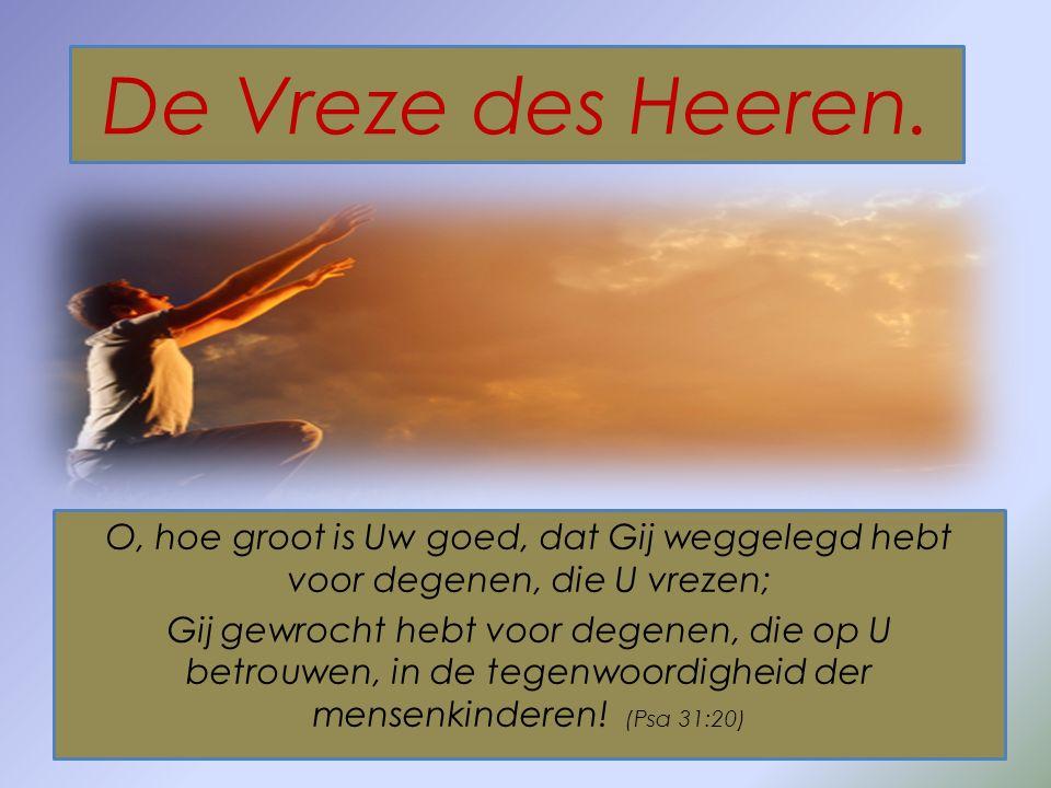 De Vreze des Heeren. O, hoe groot is Uw goed, dat Gij weggelegd hebt voor degenen, die U vrezen; Gij gewrocht hebt voor degenen, die op U betrouwen, i