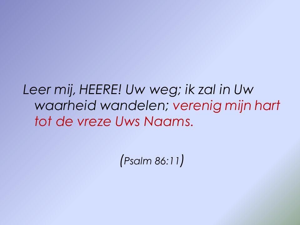 Leer mij, HEERE! Uw weg; ik zal in Uw waarheid wandelen; verenig mijn hart tot de vreze Uws Naams. ( Psalm 86:11 )