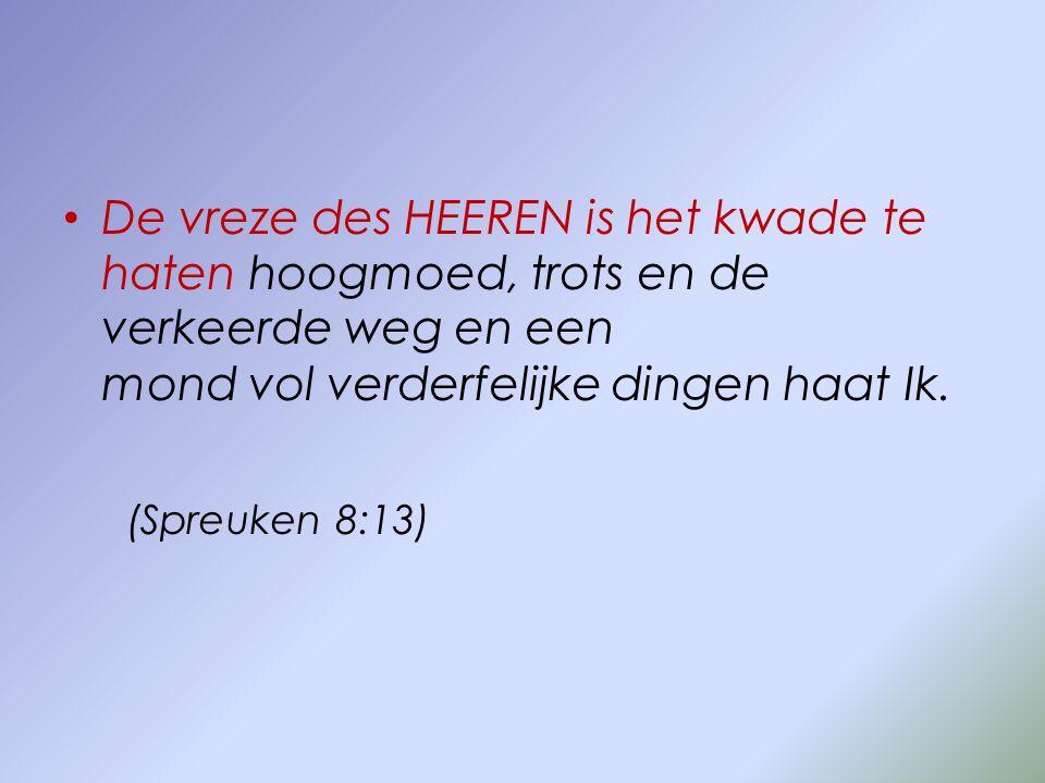 De vreze des HEEREN is het kwade te haten hoogmoed, trots en de verkeerde weg en een mond vol verderfelijke dingen haat Ik. (Spreuken 8:13)