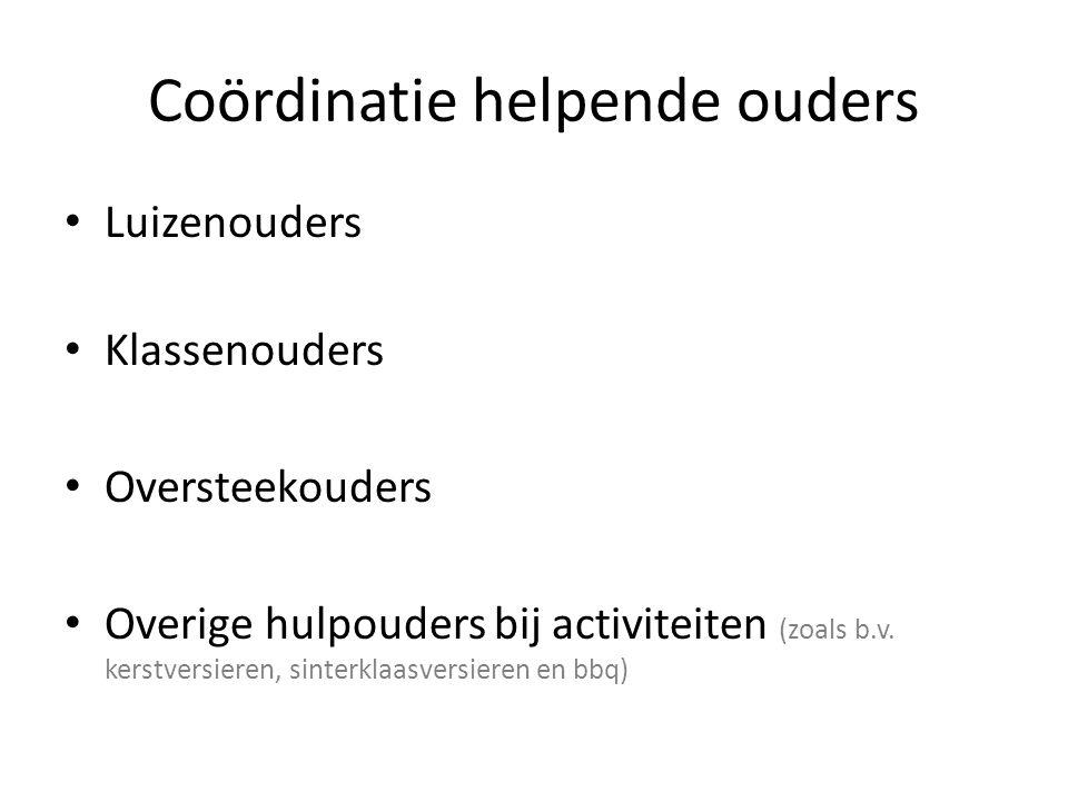 Coördinatie helpende ouders Luizenouders Klassenouders Oversteekouders Overige hulpouders bij activiteiten (zoals b.v.