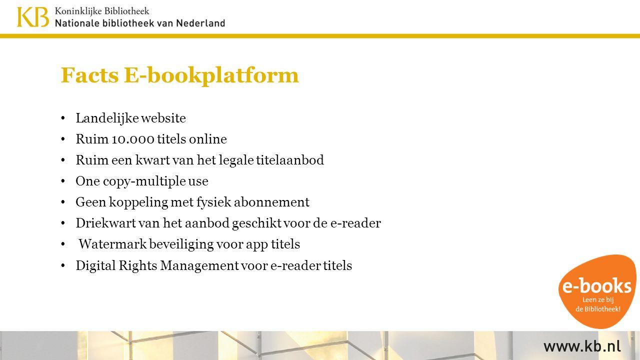 Facts E-bookplatform Landelijke website Ruim 10.000 titels online Ruim een kwart van het legale titelaanbod One copy-multiple use Geen koppeling met fysiek abonnement Driekwart van het aanbod geschikt voor de e-reader Watermark beveiliging voor app titels Digital Rights Management voor e-reader titels
