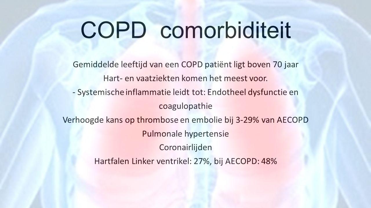 COPD comorbiditeit Gemiddelde leeftijd van een COPD patiënt ligt boven 70 jaar Hart- en vaatziekten komen het meest voor. - Systemische inflammatie le