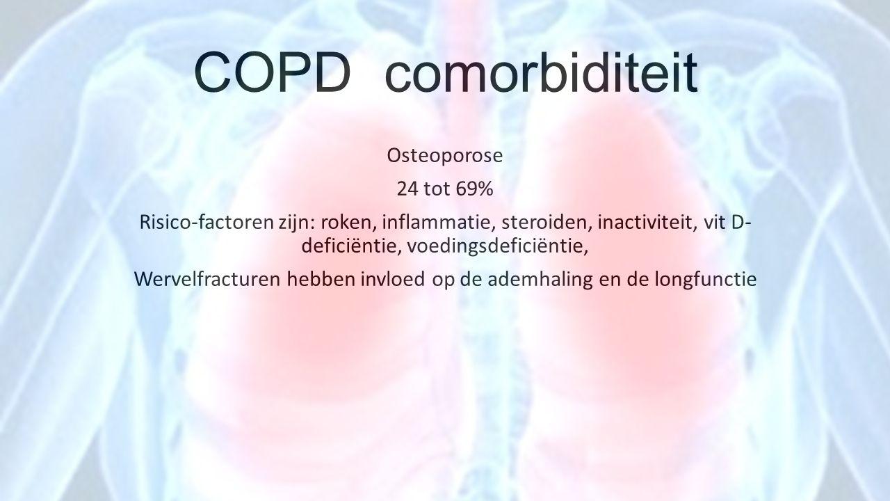 COPD comorbiditeit Osteoporose 24 tot 69% Risico-factoren zijn: roken, inflammatie, steroiden, inactiviteit, vit D- deficiëntie, voedingsdeficiëntie,