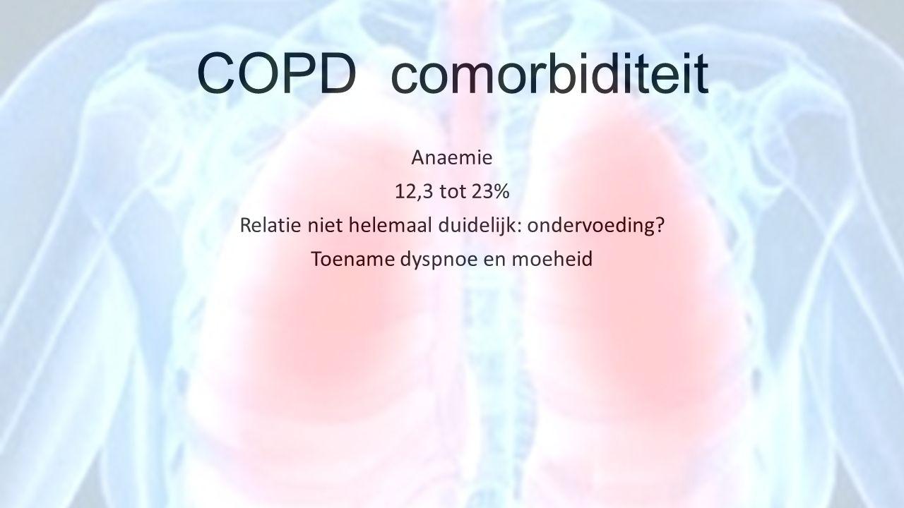 COPD comorbiditeit Anaemie 12,3 tot 23% Relatie niet helemaal duidelijk: ondervoeding? Toename dyspnoe en moeheid