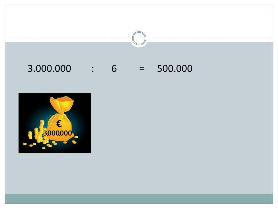 3.000.000 : 6 = 500.000