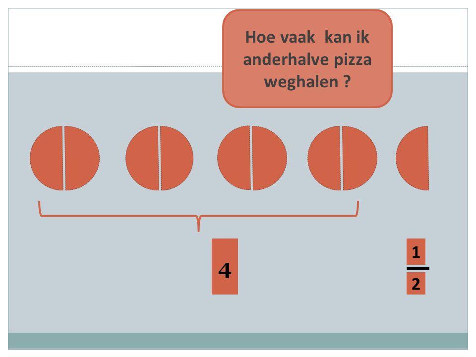1 2 4 Hoe vaak kan ik anderhalve pizza weghalen ?