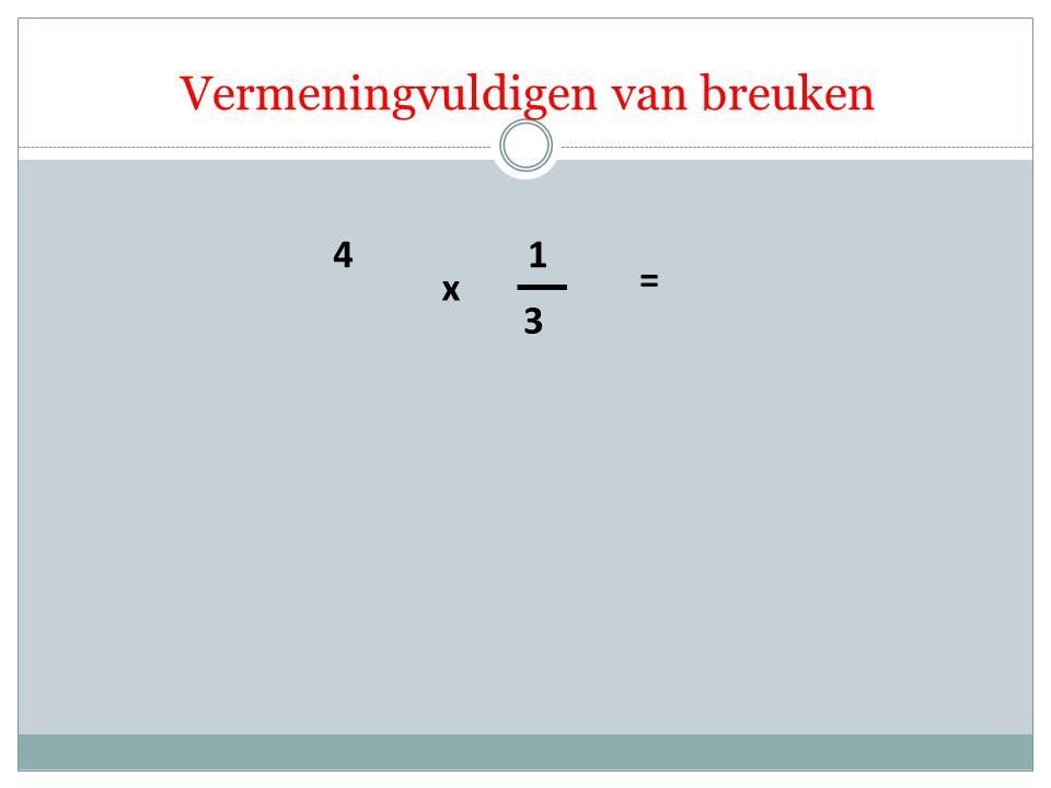 4 3 1 x = Vermeningvuldigen van breuken