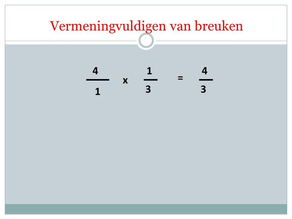 1 4 3 1 x = 3 4 Vermeningvuldigen van breuken