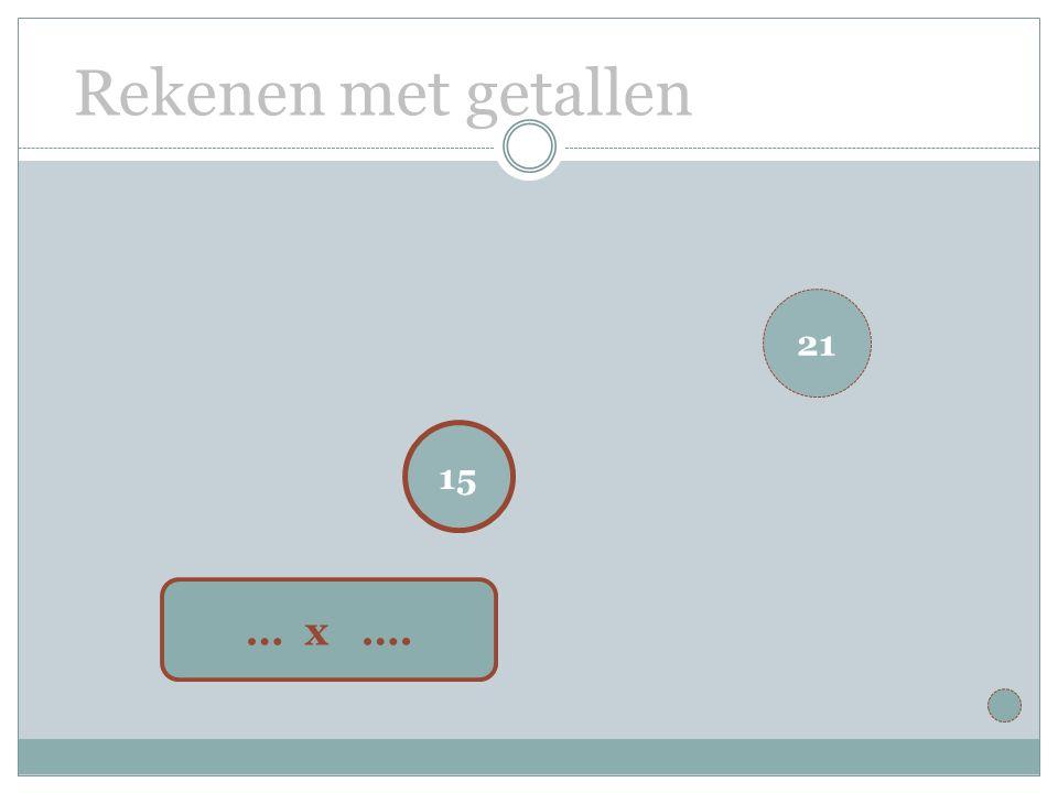 Rekenen met getallen 15 … x …. 21