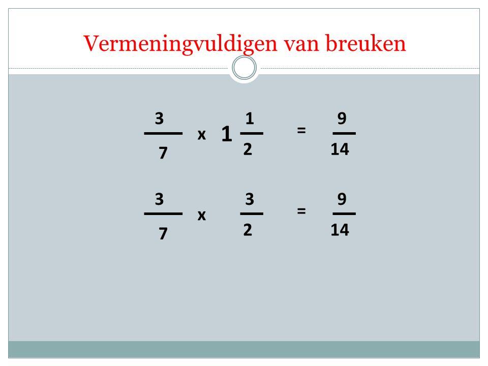 Vermeningvuldigen van breuken 7 3 2 1 x = 14 9 1 7 3 2 3 x = 9