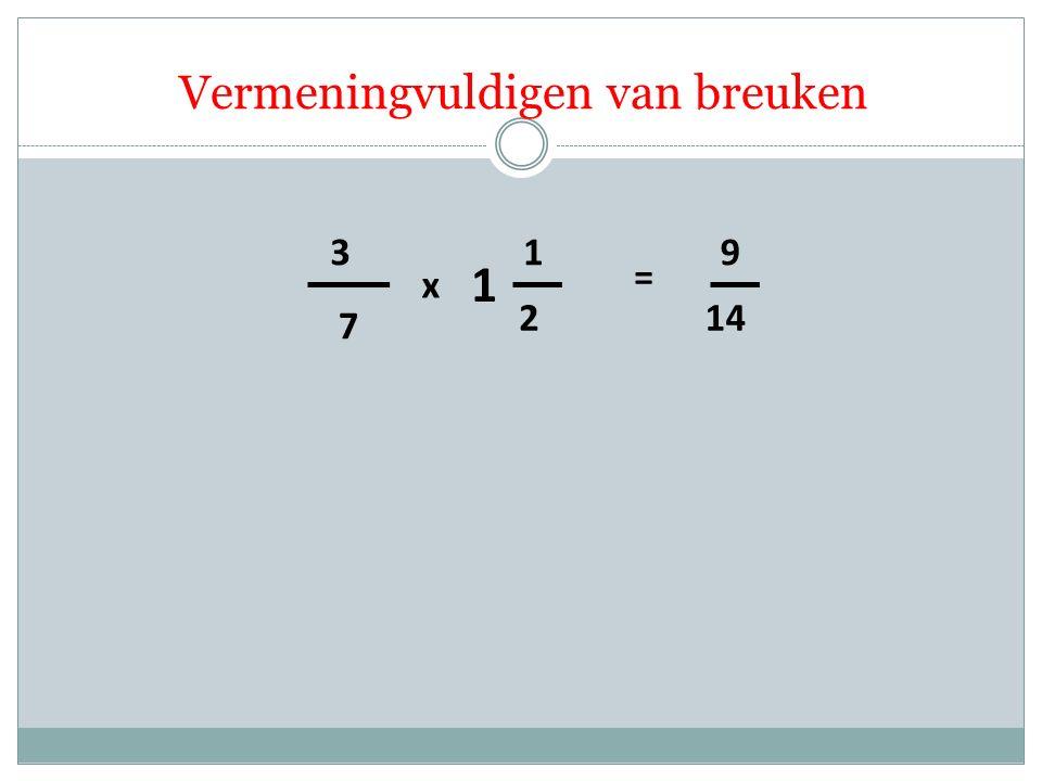 Vermeningvuldigen van breuken 7 3 2 1 x = 14 9 1
