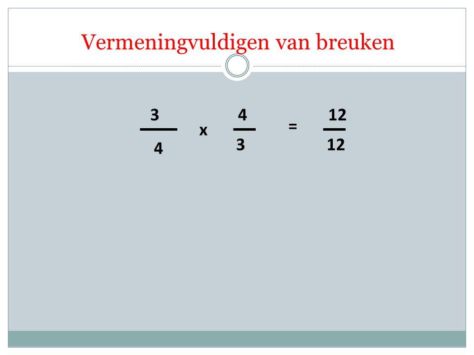 4 3 3 4 x = 12 Vermeningvuldigen van breuken