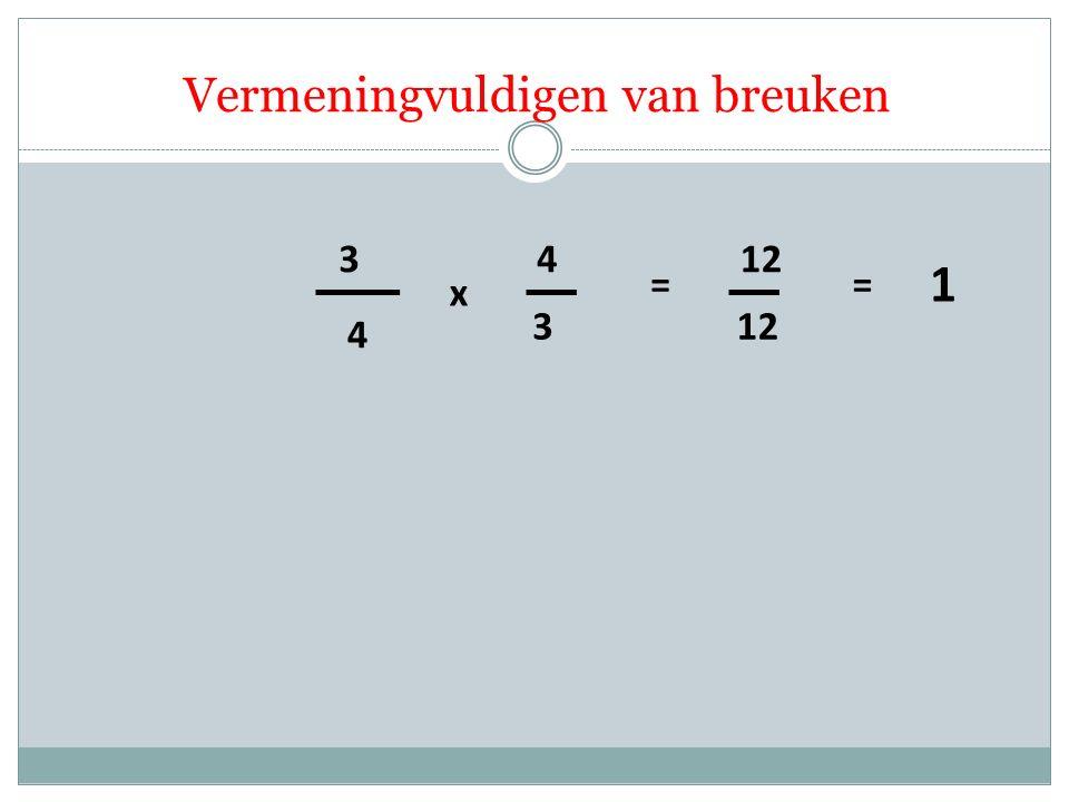 4 3 3 4 x = 12 Vermeningvuldigen van breuken = 1