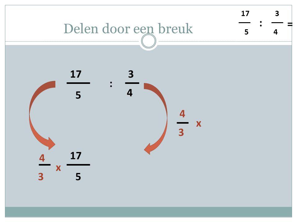 5 4 3 : = Delen door een breuk 5 17 4 3 : 3 4 x 5 3 4 x