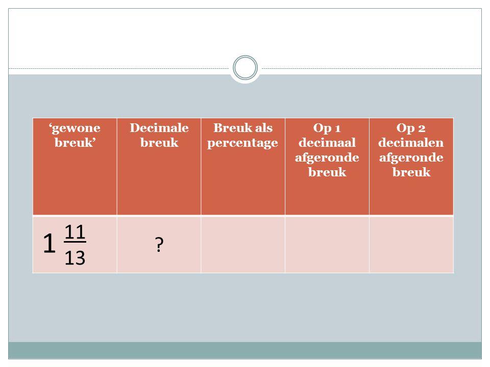 'gewone breuk' Decimale breuk Breuk als percentage Op 1 decimaal afgeronde breuk Op 2 decimalen afgeronde breuk 11 13 .