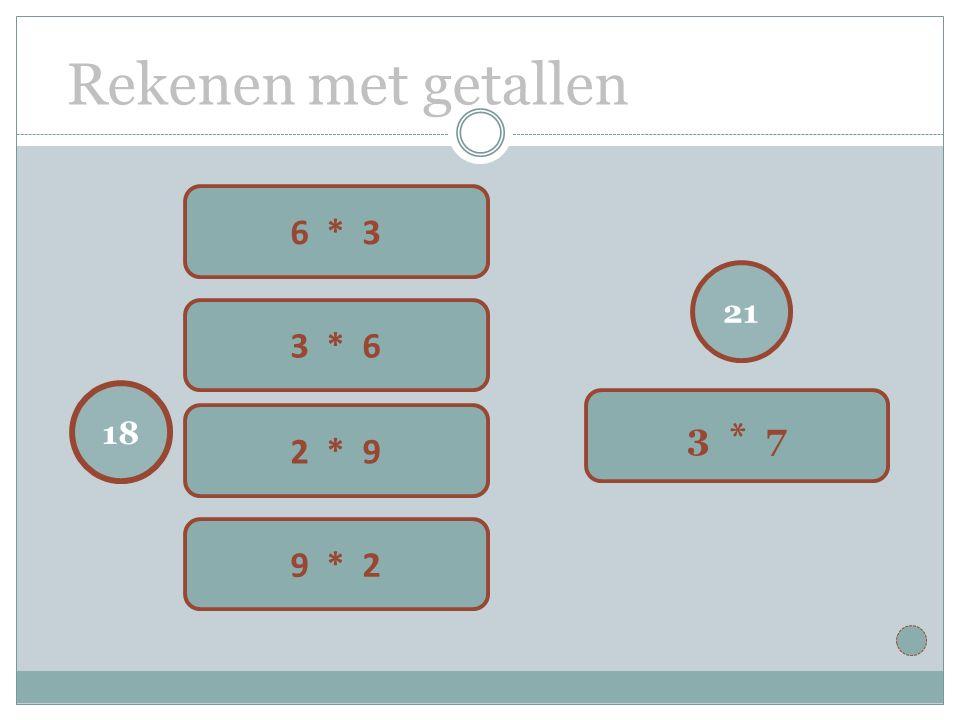 Rekenen met getallen 21 3 * 7 18 6 * 3 3 * 6 2 * 9 9 * 2