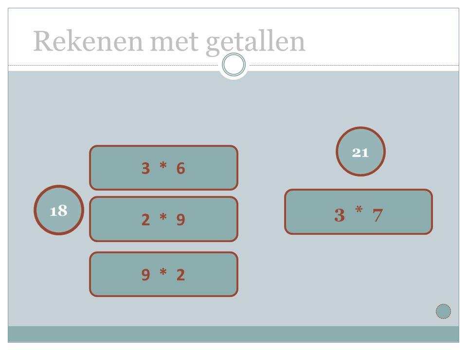 Rekenen met getallen 21 3 * 7 18 3 * 6 2 * 9 9 * 2