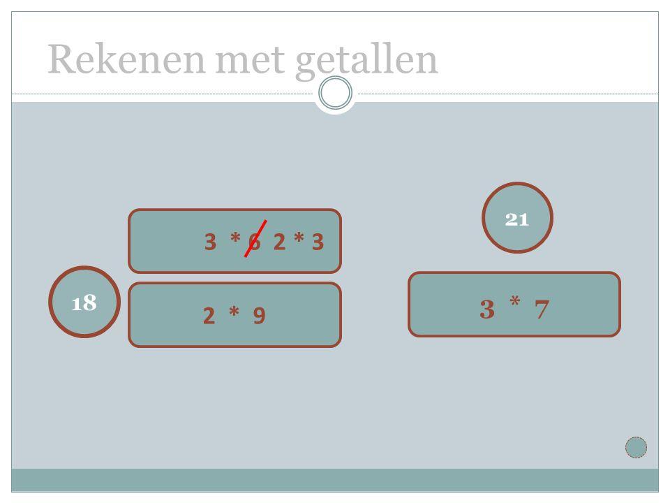 Rekenen met getallen 21 3 * 7 18 3 * 6 2 * 3 2 * 9