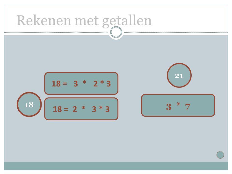 Rekenen met getallen 21 3 * 7 18 18 = 3 * 62 * 3 18 = 2 * 3 * 3