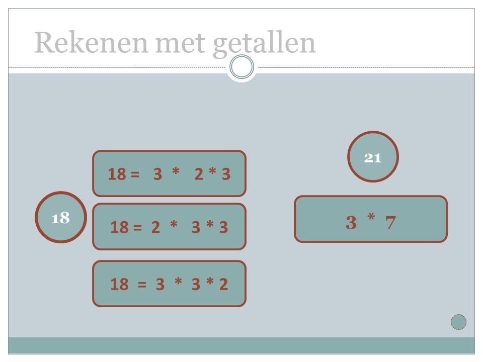Rekenen met getallen 21 3 * 7 18 18 = 3 * 62 * 3 18 = 2 * 3 * 3 18 = 3 * 3 * 2