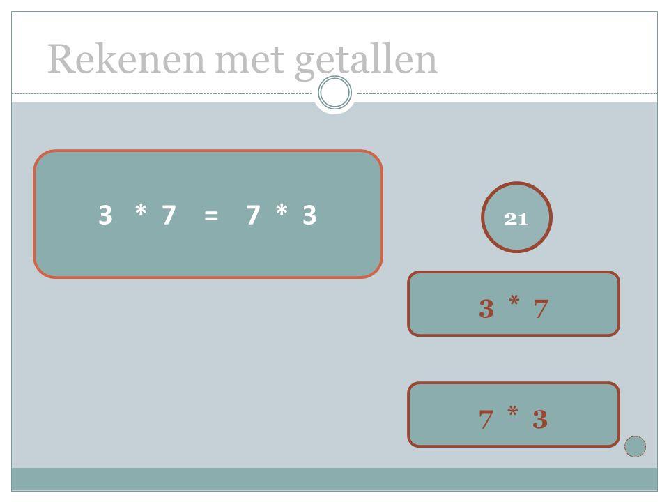 Rekenen met getallen 21 3 * 7 7 * 3 3 * 7 = 7 * 3