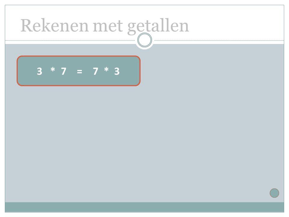 Rekenen met getallen 3 * 7 = 7 * 3